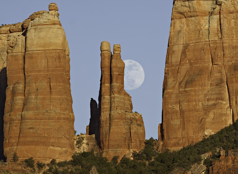 Full Moon rising at Cathedral Rock, Sedona