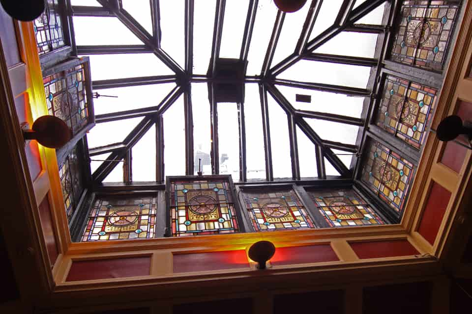 Ceiling detail from the back room where journalists from the Irish Times gathered