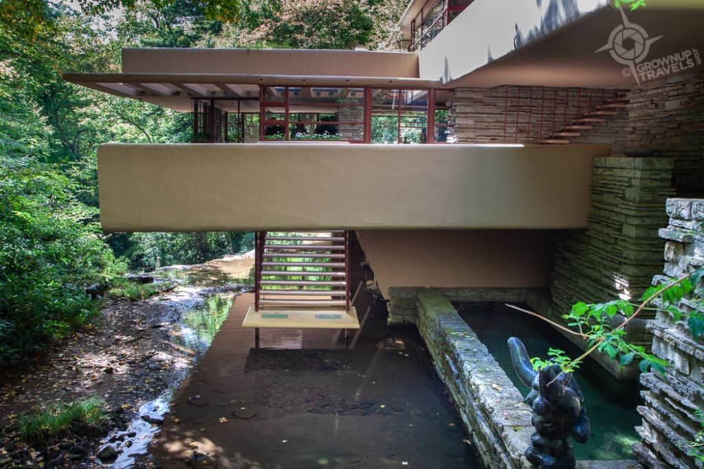 Fallingwater stairs over Bear Run creek