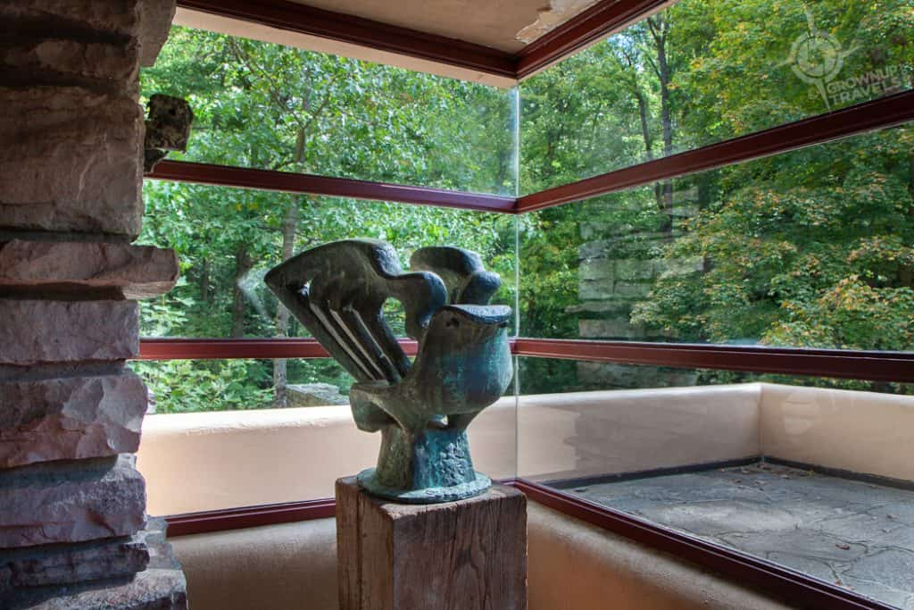 Fallingwater sculpture in windows