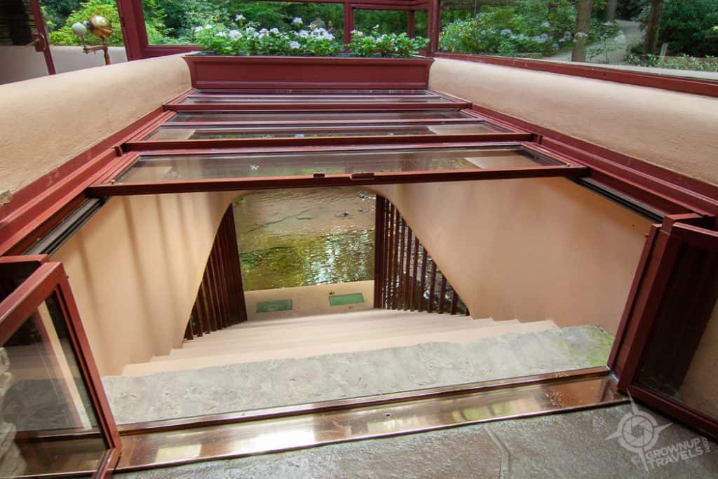 Fallingwater open Staircase to creek