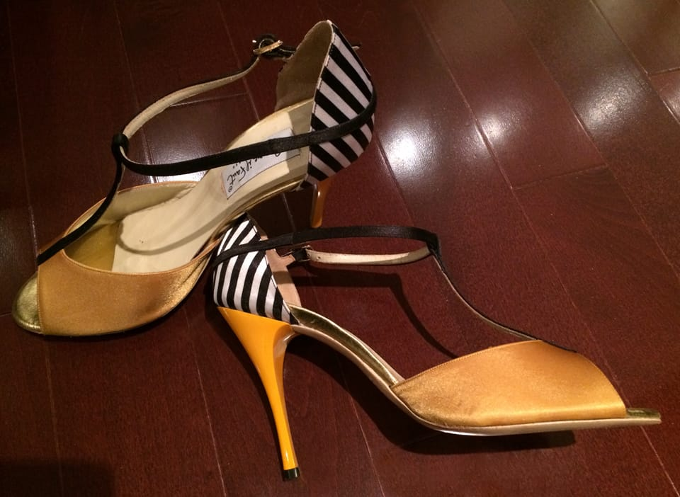 My favourite pair with the yellow stiletto and striped heel!