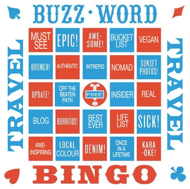 buzzword travel bingo