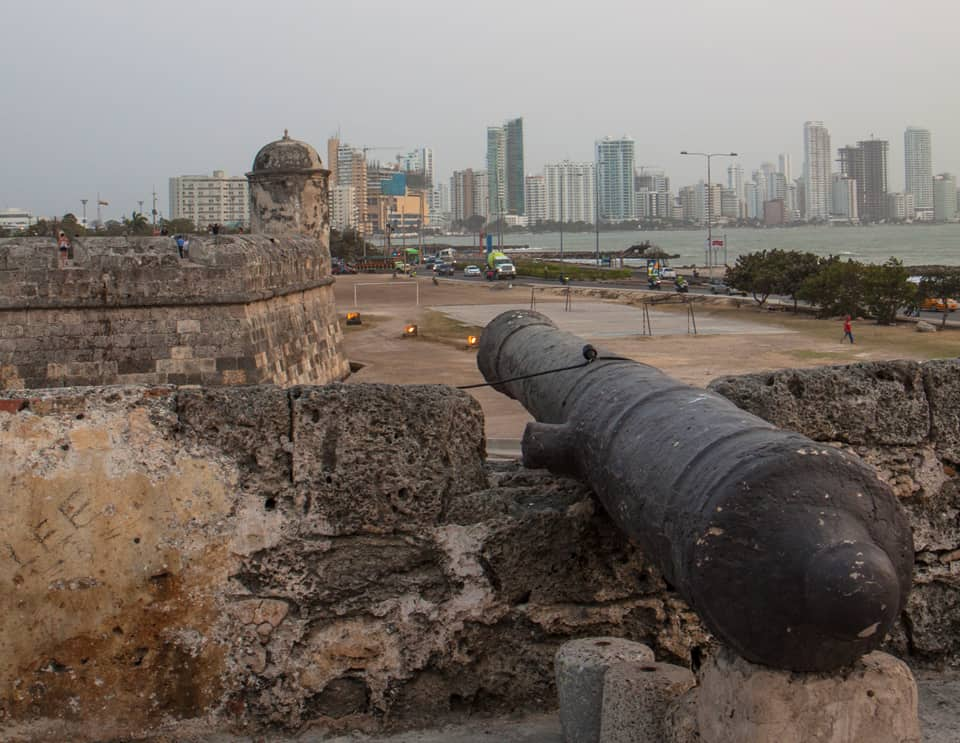 Canon at dusk on the old walls around Cartagena Colombia