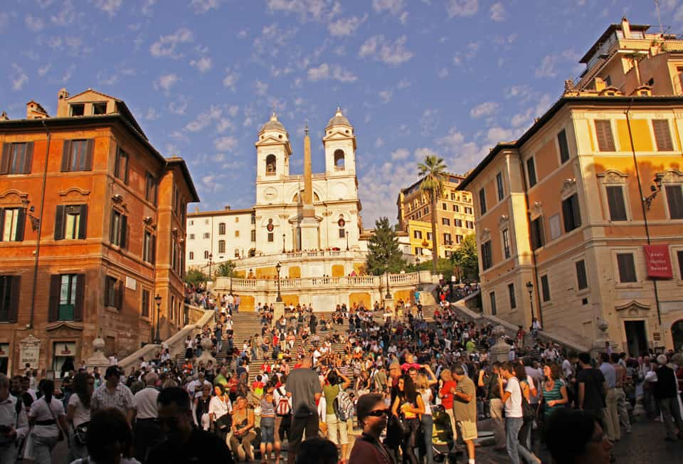 The Hassler is to the right of the Church of Trinita die Monti at the top of the Spanish Steps.