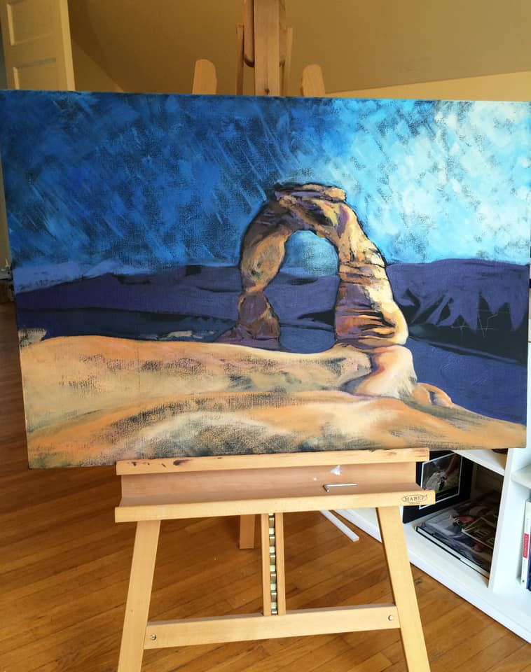 An as-yet-unfinished painting I began after our visit to Delicate Arch.