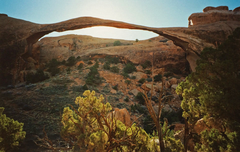 The massive Landscape Arch has a 290 foot span