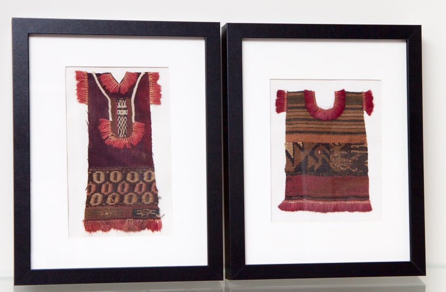 Miniature 'clothing' made from textile scraps done by an artisan in Pisac's craft market.
