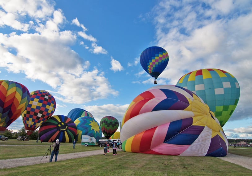 It only takes minutes to inflate the balloons - made with 'ripstop' nylon fabric that weighs about 200 pounds