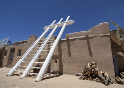 white ladder at Acoma pueblo New Mexico