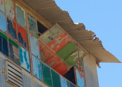 colourful windows on abandoned building New Mexico