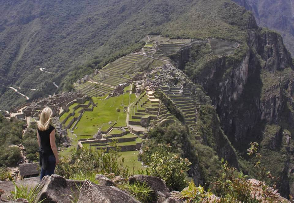 Jane overlooking Machu Picchu terraces Peru