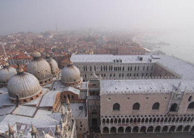 aerial view of Venice and Misty St. Marks from Campanile