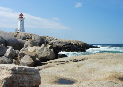 Lighthouse and rocks at Peggys Cove Nova Scotia