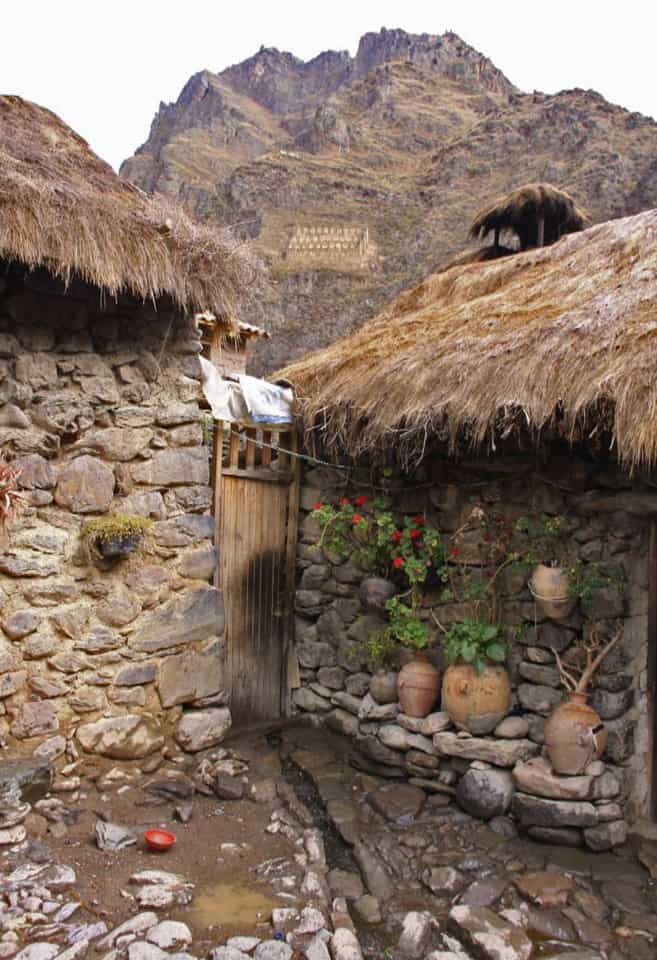 Incan house and pots Sacred Valley Peru