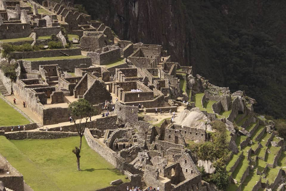 morning light on Machu Picchu terrace Peru