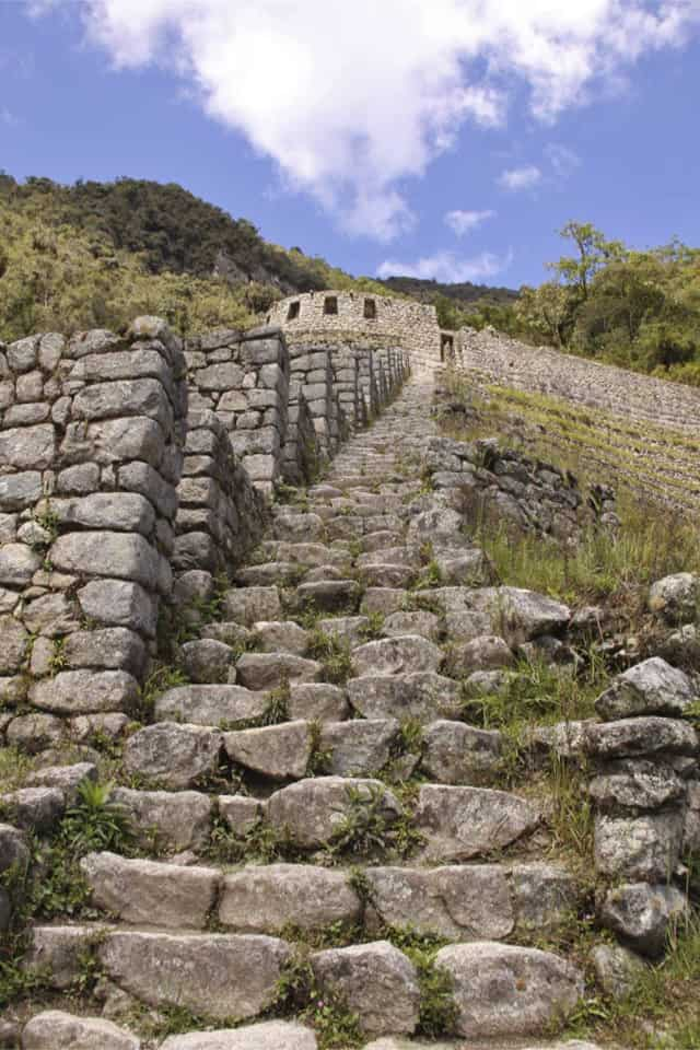 Staircase at Winay Wayna Inca Trail Peru