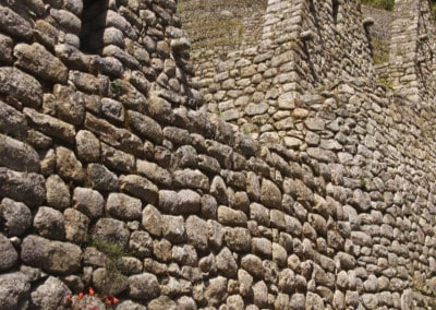 stone structures at Winay Wayna Inca Trail Peru