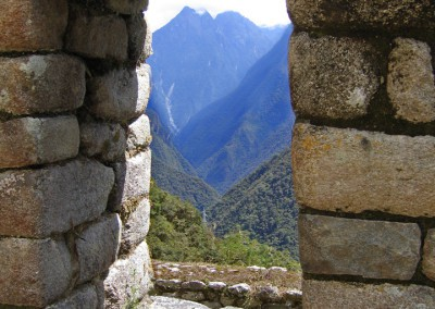 window in Incan house overlooking inca trail Peru