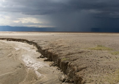 Tanzania dry Lake Eyasi with storm clouds