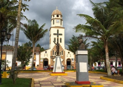 Church in Salento's main plaza Colombia