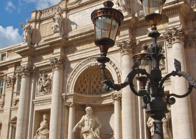 Trevi Fountain with lamppost Rome Italy