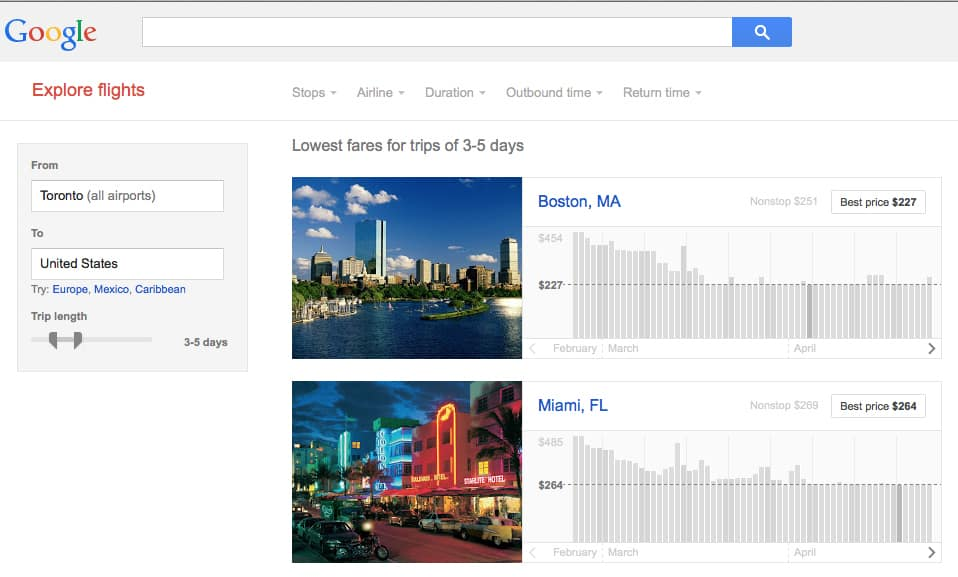 Tips google flight search