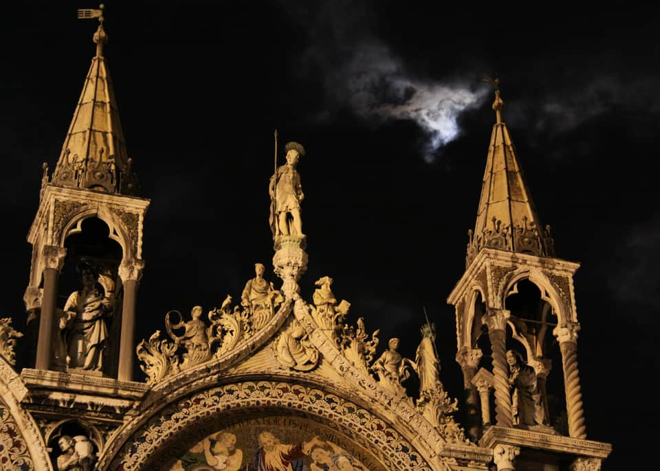 Venice night with clouds over St Marks