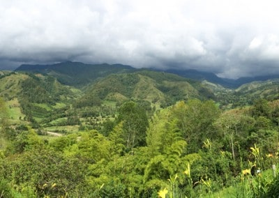 Colombia Vista with mountain and rainclouds