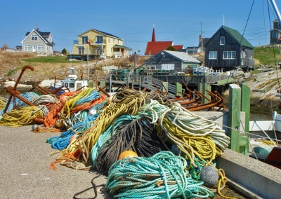 colourful fishing ropes in Peggy's Cove Nova Scotia