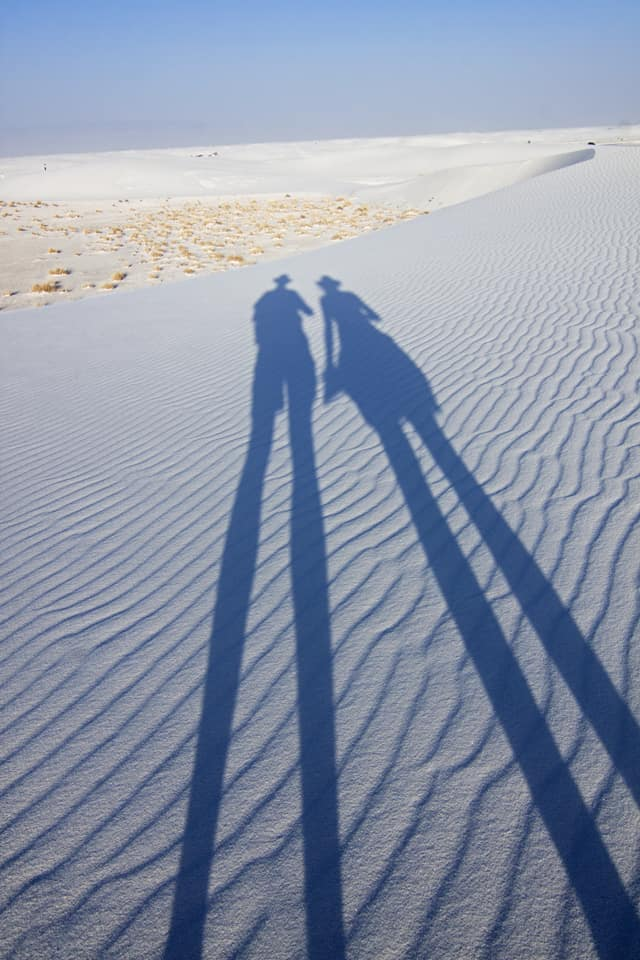 long shadows Jane and Henk White Sands National Monument