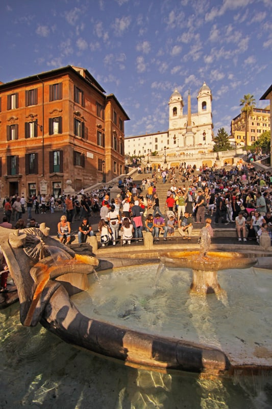 Rome Spanish Steps with fountain in foreground