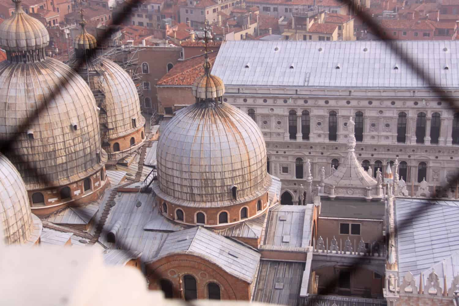St. Marks domes in Venice seen from inside the Campanile