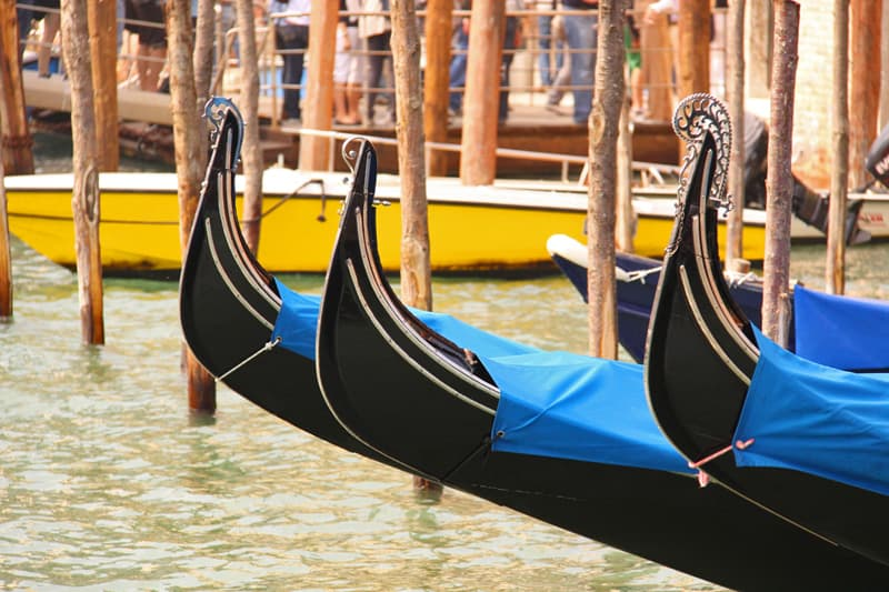 Venice gondolas lined up