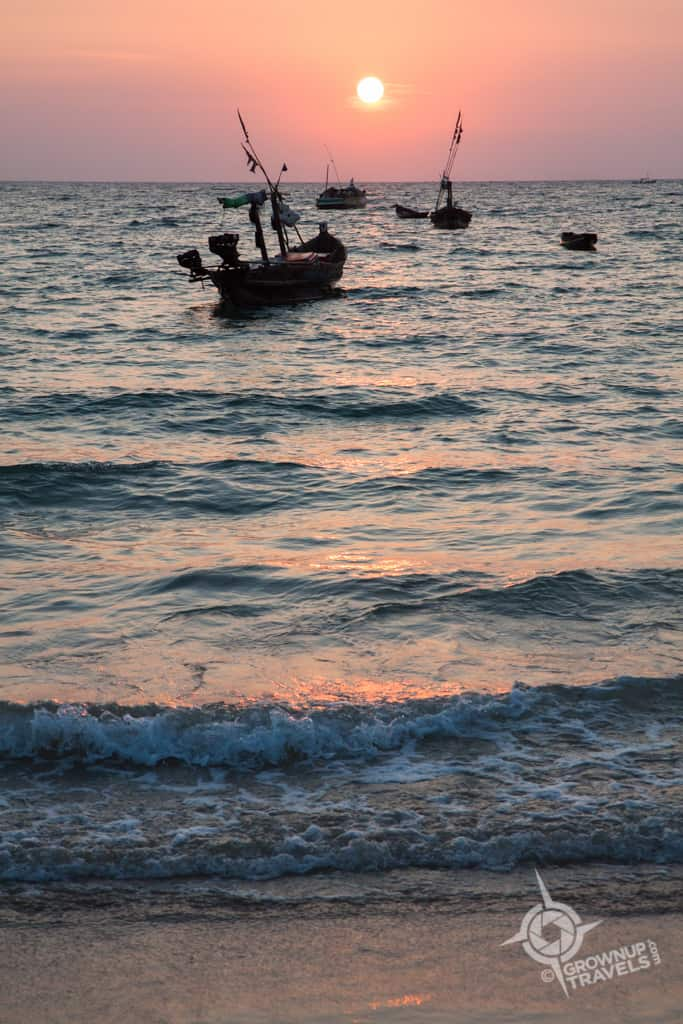 Ngapali sunset fishing boat