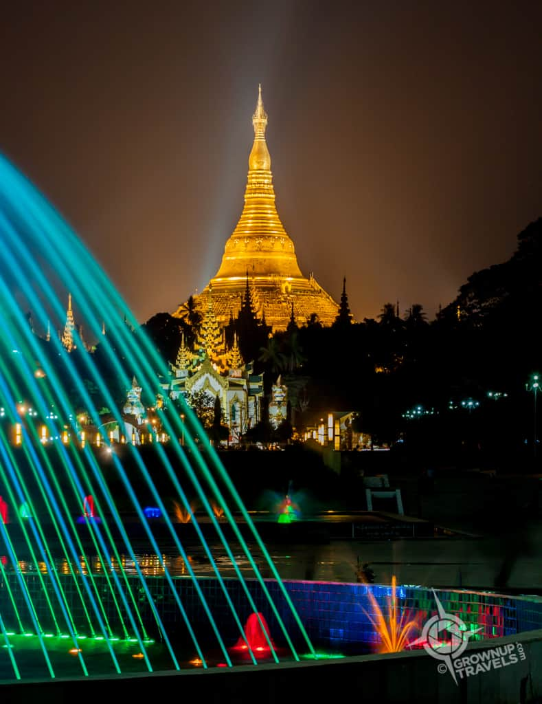 Shwedagon from People's Park night fountain