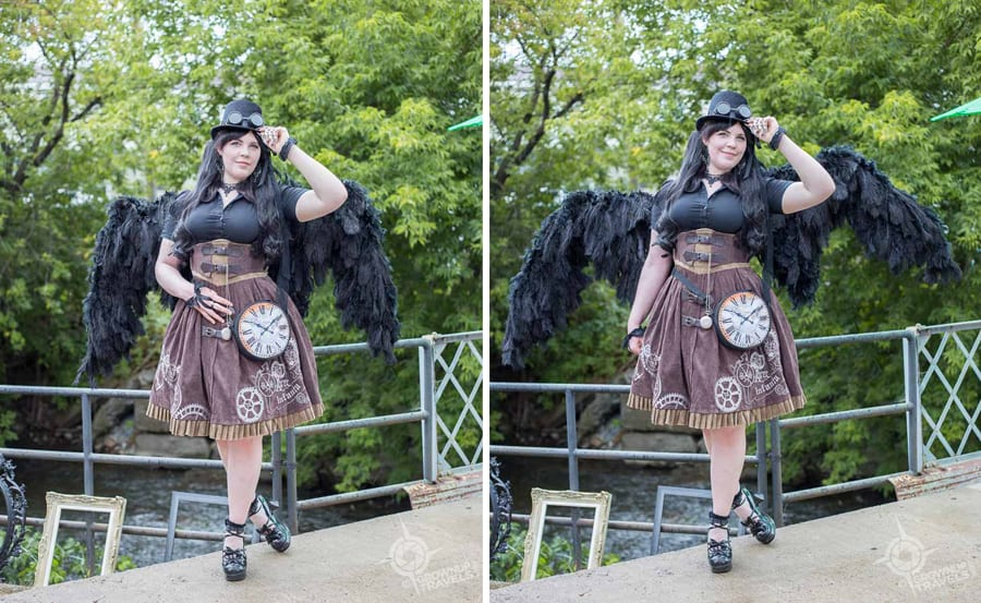 Krystyn's Steampunk outfit included wings which opened and closed which she was only to happy to demonstrate