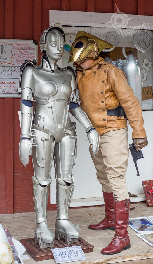 Kropserkel's Scott Maple dressed as the Rocketeer beside his reproduction of Maria from Metropolis