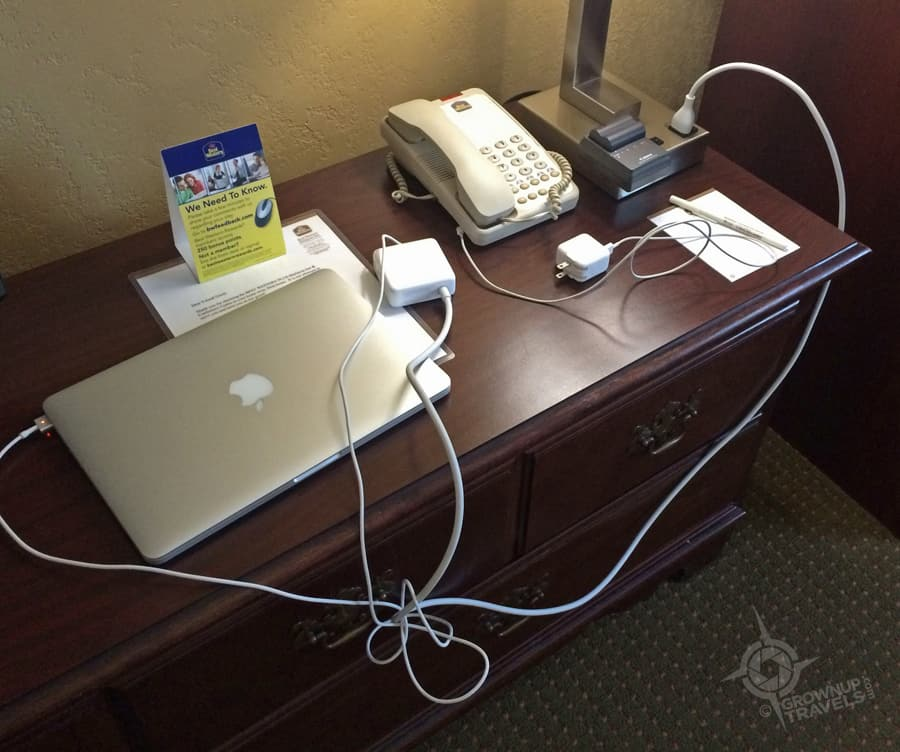 A small sampling of the outlets required to keep a blogger suitable charged up.