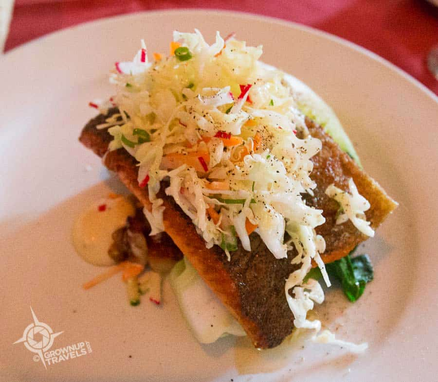 Seared Lake Trout with fresh coleslaw was Henk's choice for an entrée