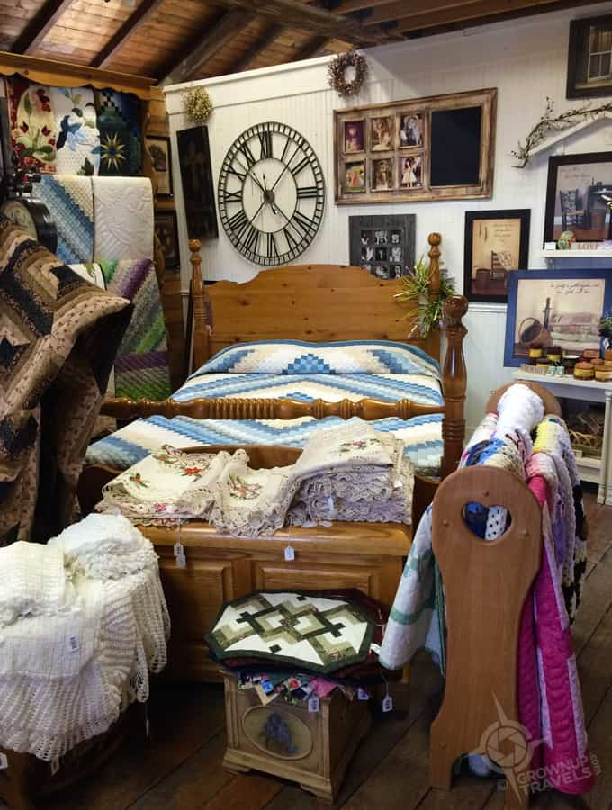 Quilts and more at one of the shops outside St. Jacob's main market building