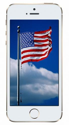 iPhone 5S with American flag