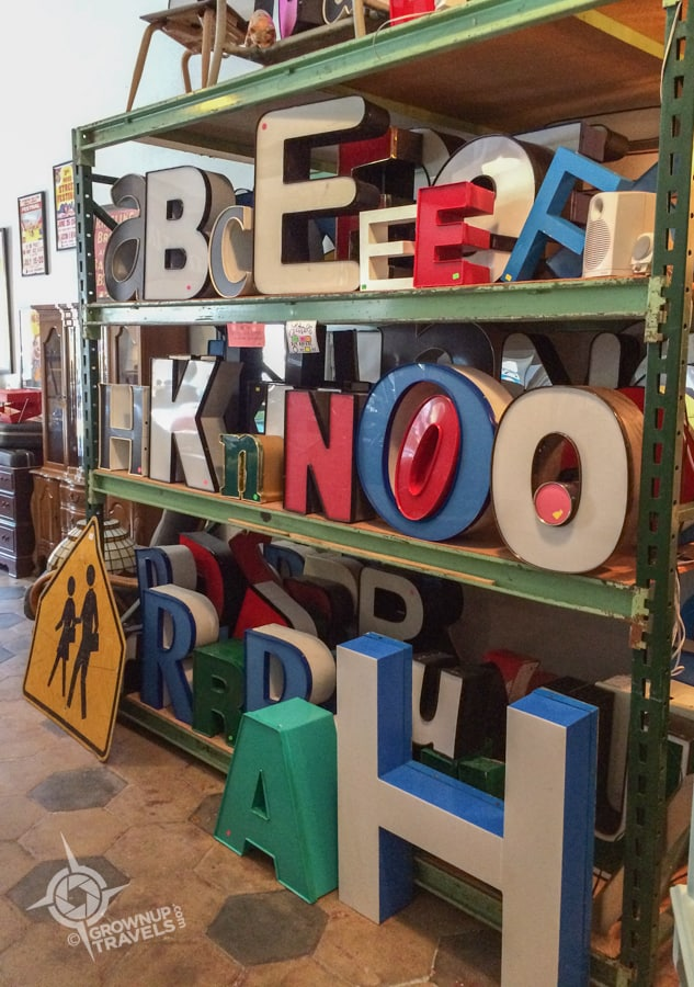 Salvaged sign letters at Paper Street