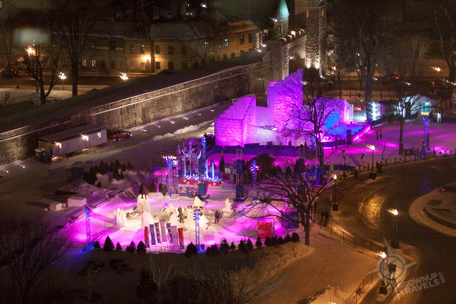 Quebec Ice Palace at night