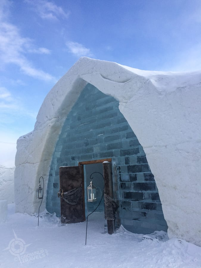 Quebec ice hotel entrance