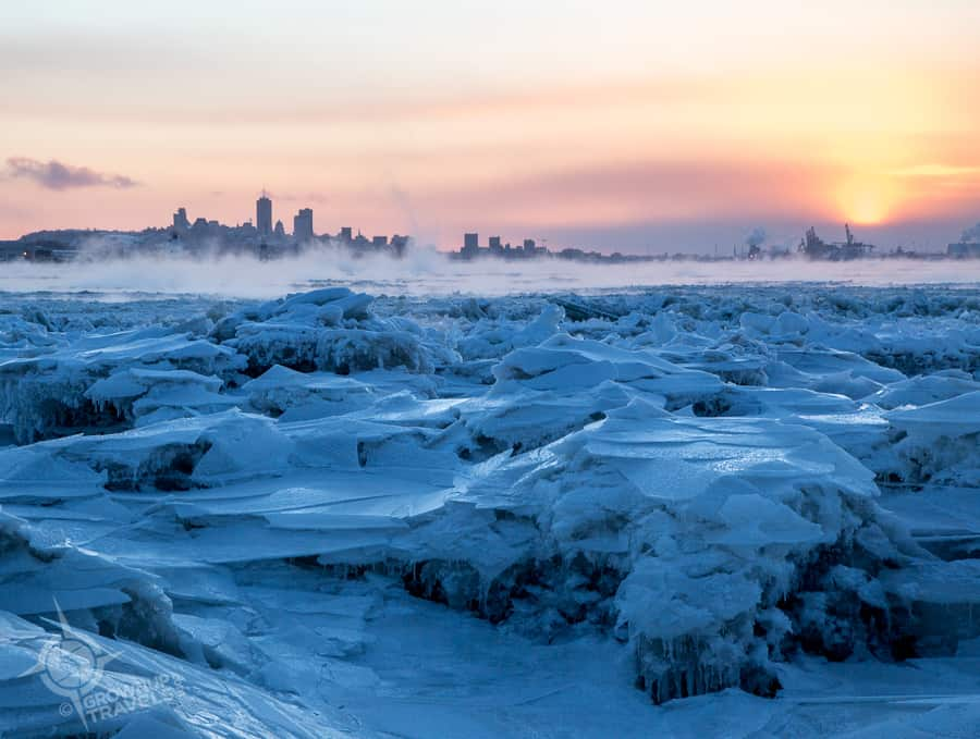 quebec frozen ice sunset