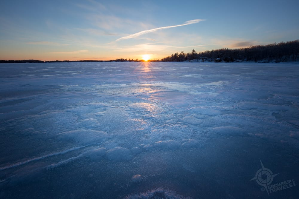 Viamede frozen lake sunset