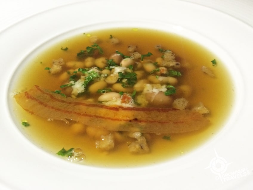 Wild mushroom soup with guanciale