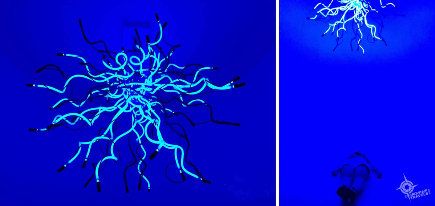 Chihuly neon blue chandelier