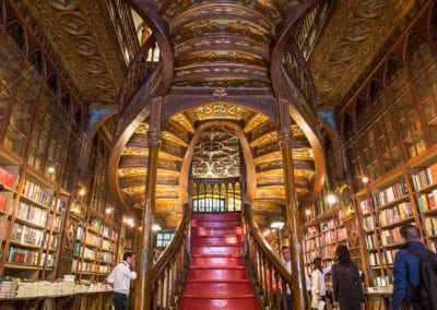 The staircase at the enchanting Livraria Lello Bookstore in Porto, Portugal